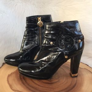 Tory Burch patent leather inside zip heeled boots